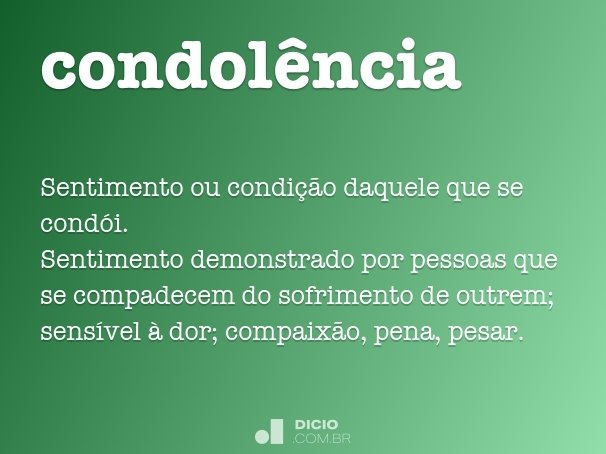 condol�ncia