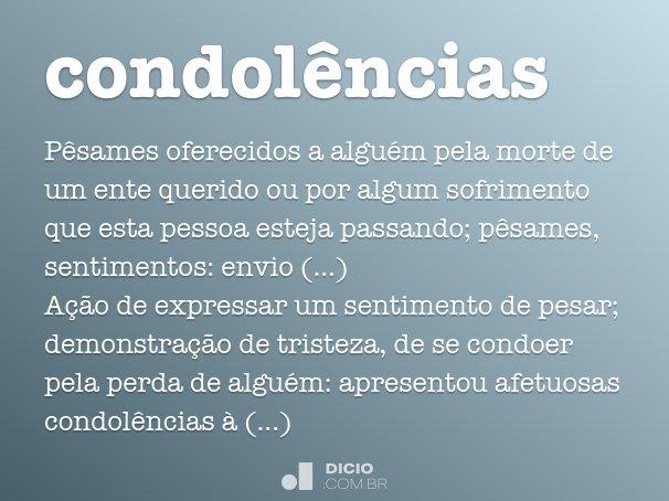 Condolências Dicio Dicionário Online De Português