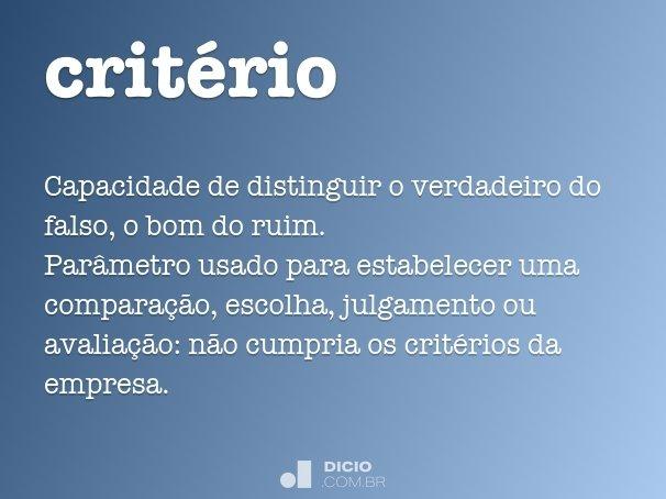 crit�rio