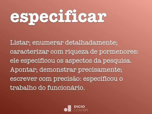 especificar