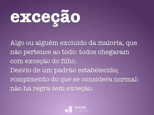 exce��o