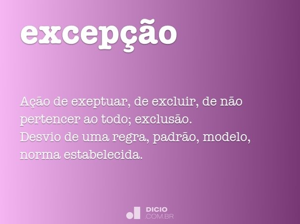 excep��o