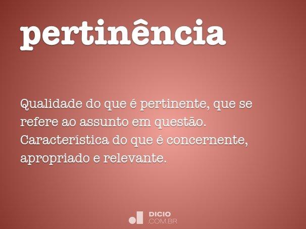 pertin�ncia