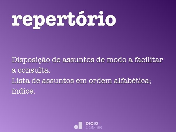 repert�rio