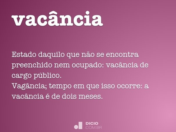 vac�ncia